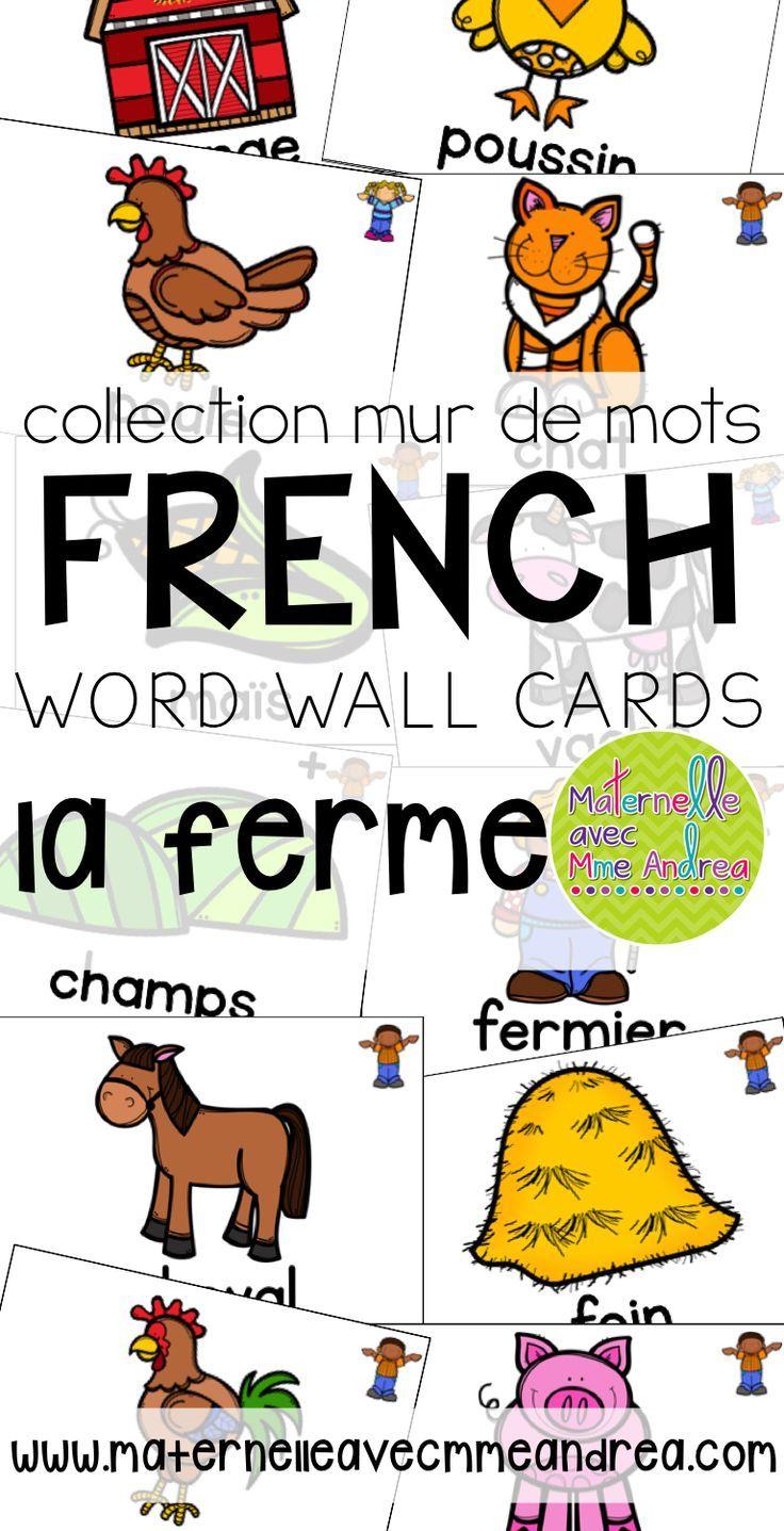 FRENCH Farm Vocabulary Cards (cartes de vocabulaire la