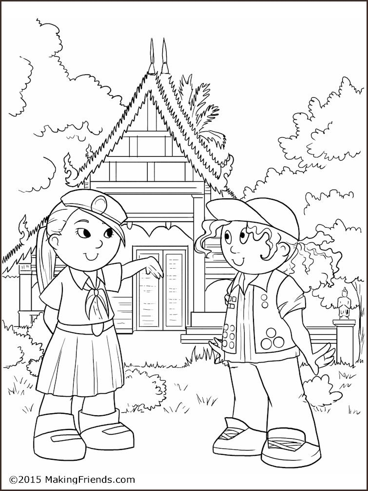 Thailand Girl Guide Coloring Page Girl Scout Activities Girl