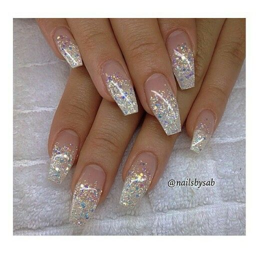 Christmas Acrylic Nails Coffin Shape: French Glitter Ombre Coffin Shape