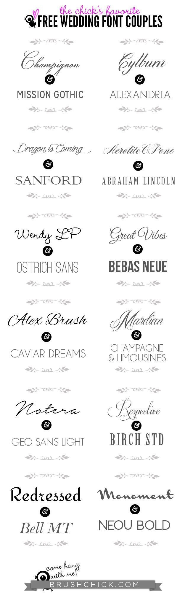 The Best Free Wedding Invitation Font Couples || The Brush Chick ...