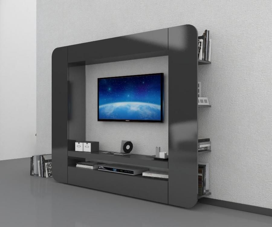 prisma, modern tv wall storage unit in anthracite gloss finish