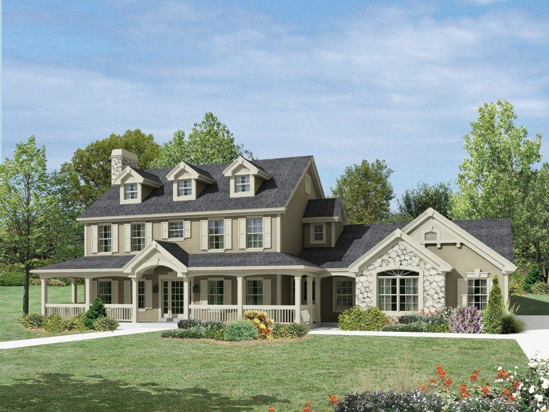 small cottage with porch from family home plans 49824 traditional