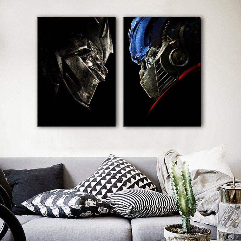 "12/""x22/""Bumblebee vs Optimus Prime HD Canvas prints Painting Home Decor Picture"
