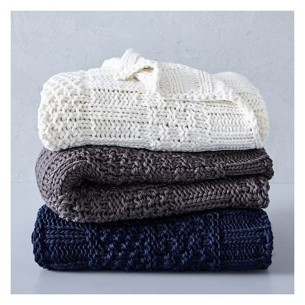 """West Elm Throw Blanket West Elm Solid Mixed Knit Throw 50""""x60"""" Nightshade $49 ❤ Liked"""