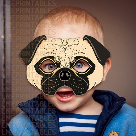 Pug Dog Mask Printable Fawn Carlin Mops Dutch Bulldog Mastiff