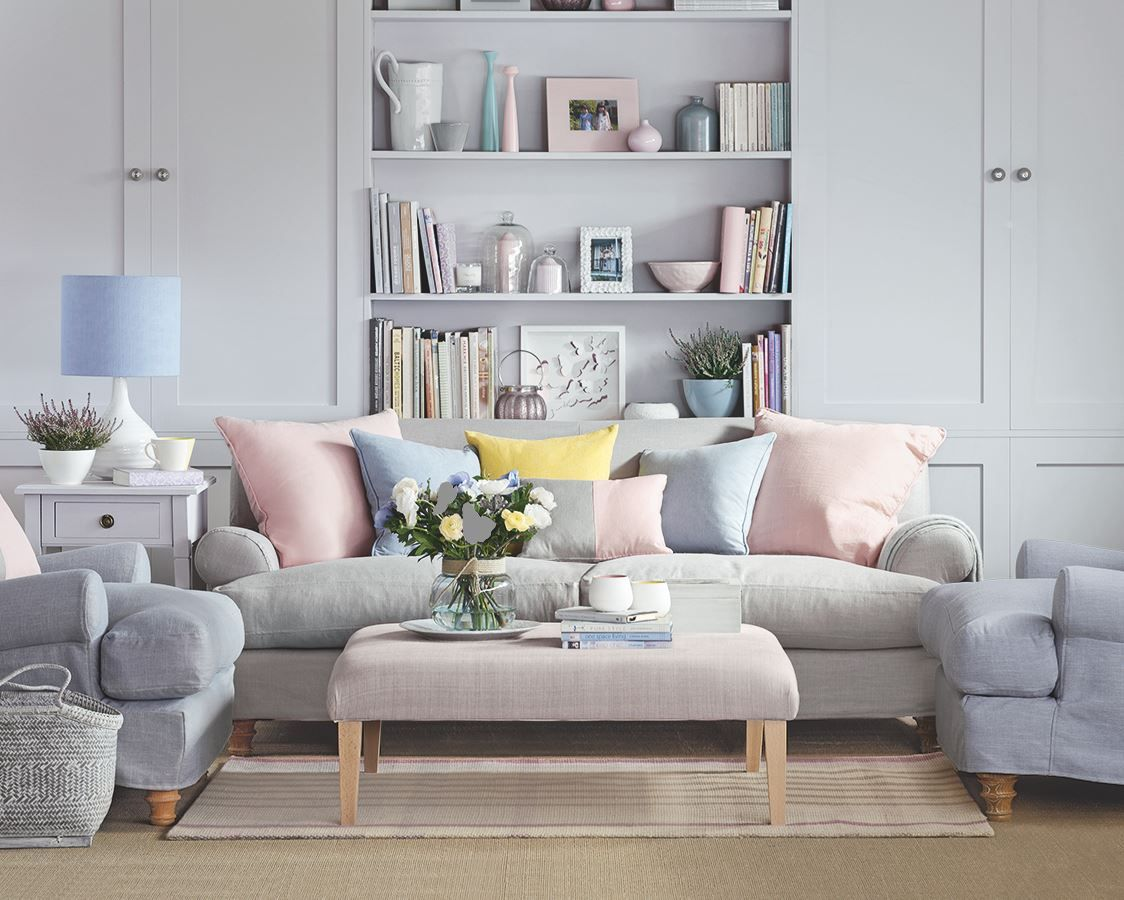 Grey living room with cool pastels. A modern take on shabby chic ...