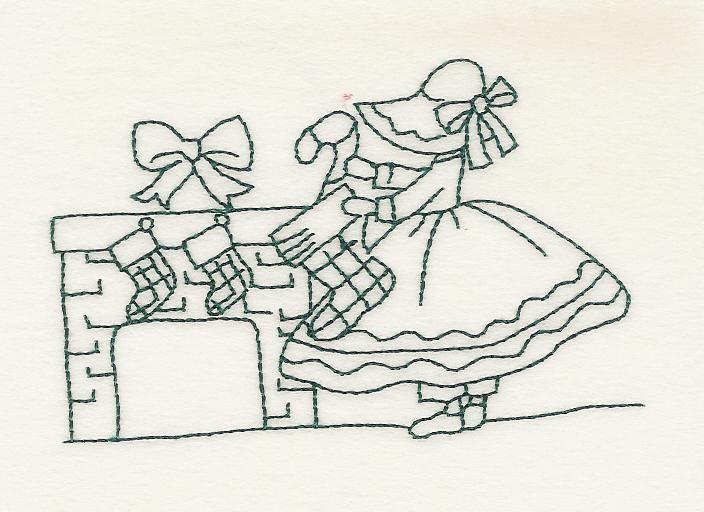 Christmas Sunbonnet Sue - Vintage Redwork - Machine Embroidery ...