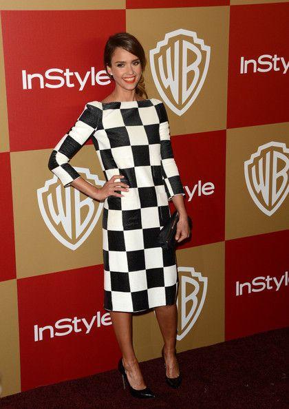 Jessica Alba worked a checkered Louis Vuitton sheath.