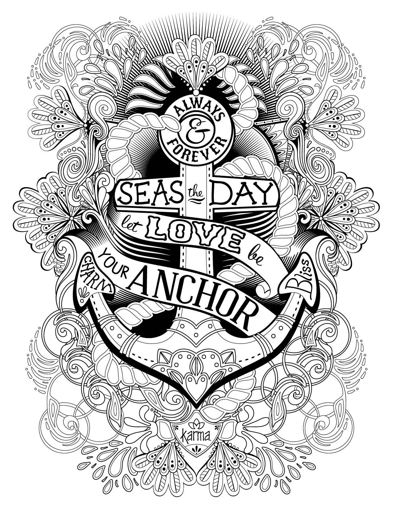 Anchor Free And Printable Coloring Page By Karma Gifts Skull Coloring Pages Valentine Coloring Pages Emoji Coloring Pages