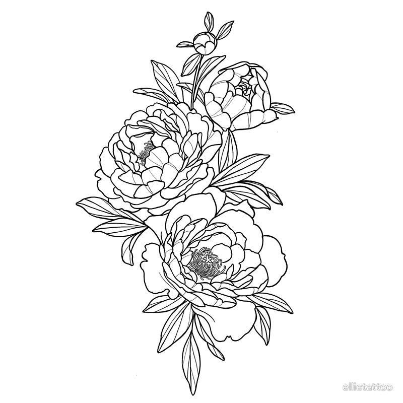 Linework Peonies Peonies Tattoo Line Work Tattoo Flower Tattoo Sleeve