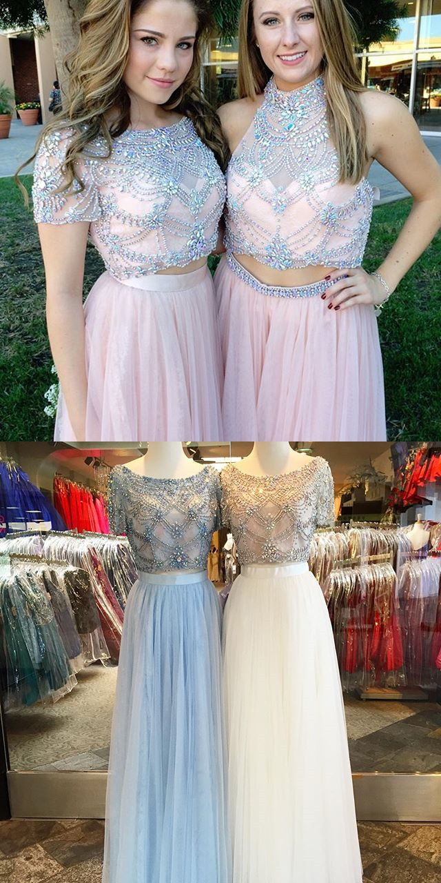 Two Piece Bateau Short Sleeves Floor Length Pink Prom Dress with