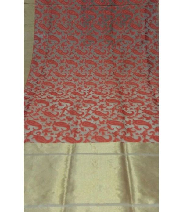Red Handloom Banarasi Tissue Net Saree