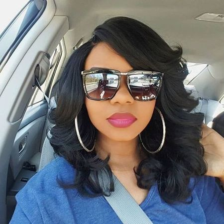 Wavy Bob With Swept Side Bangs Human Hair Wigs For Black Women