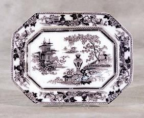 Discontinued Mazara Pattern W Adams and Sons From England Red and White Luncheon Plate