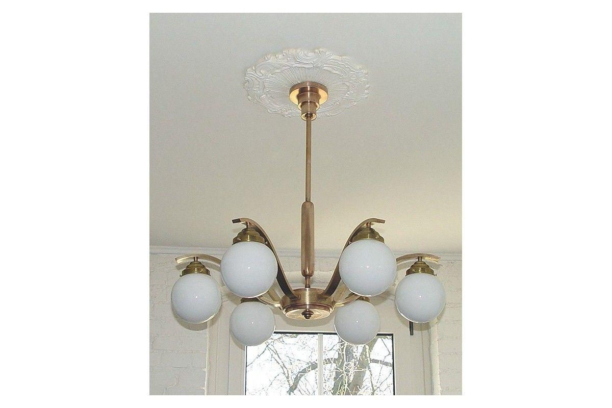 Badezimmerlampe Decke ~ Art deco antike decken lampe 6arm messing original original