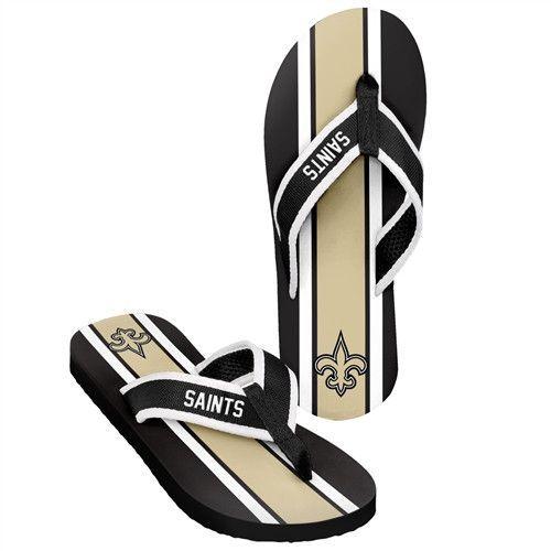 New Orleans Saints NFL Contour Stripe Flip Flops