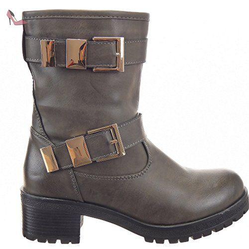 e34ecbfa89a Sopily - Chaussure Mode Bottine Cavalier Motard Rangers mi-mollet femmes  boucle Talon bloc 5