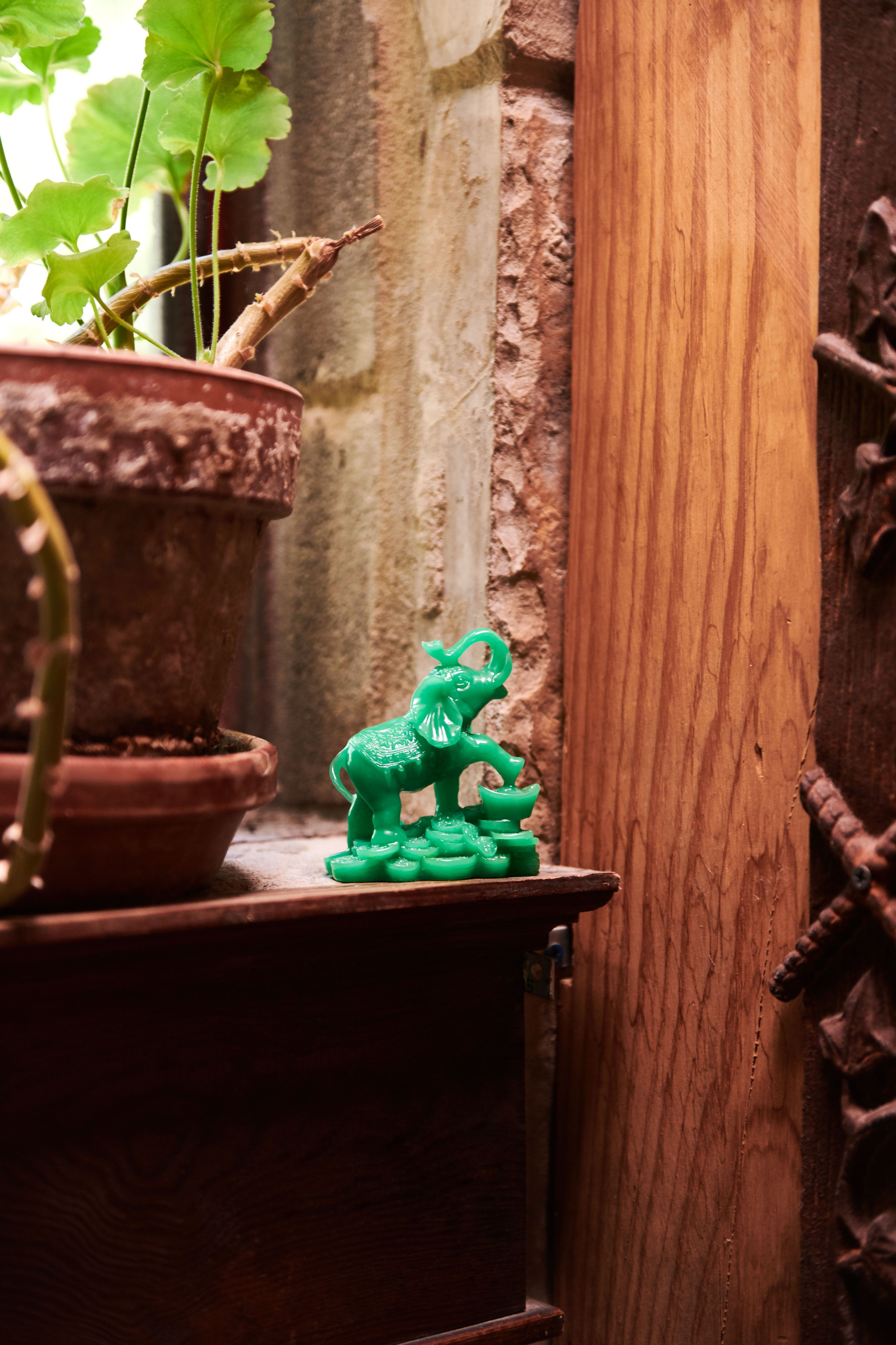 Green Resin Elephant With Coins Spiritual Decor Sacred Space