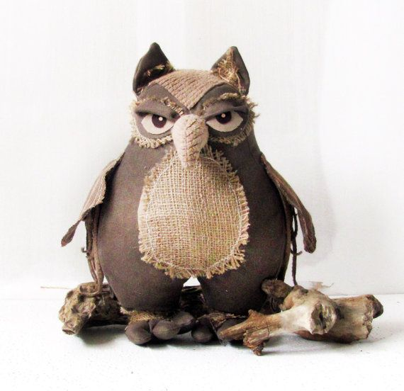Owl Decor Handmade Home Ornament Forest Woodland Burlap Rustic Country Style