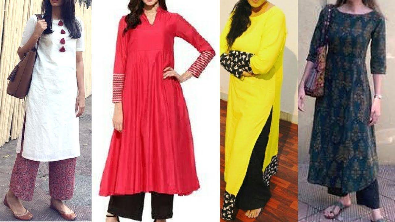 fe5585c35f Daily wear long kurti with plazzo design ideas | latest kurti with plazo
