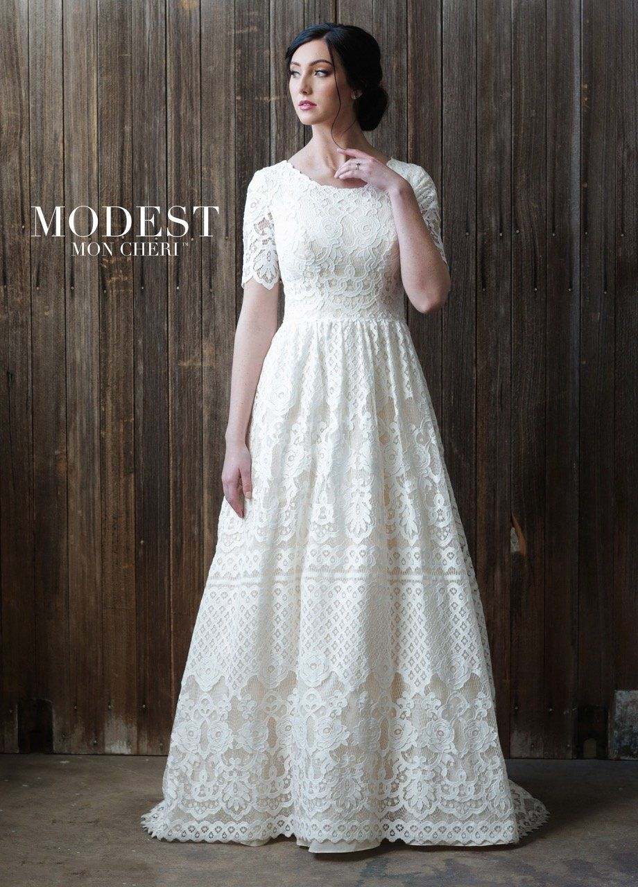 Mon Cheri TR21864 Modest Wedding Dress | A Closet Full of Dresses