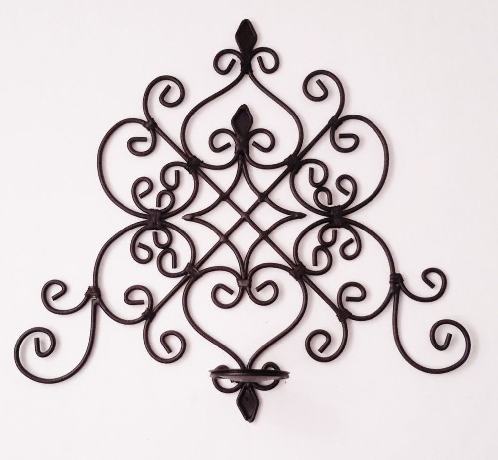 Wall pillar candle holder decor black metal scroll decorative wall