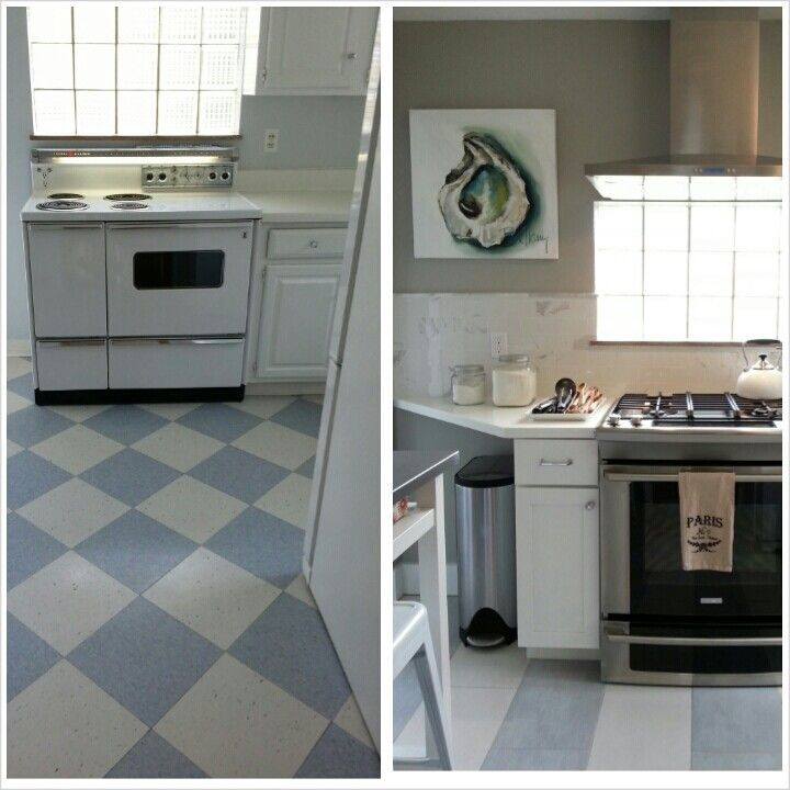 White Kitchen Remodels Before And After: Before And After #white #kitchen #striped #floor #oyster