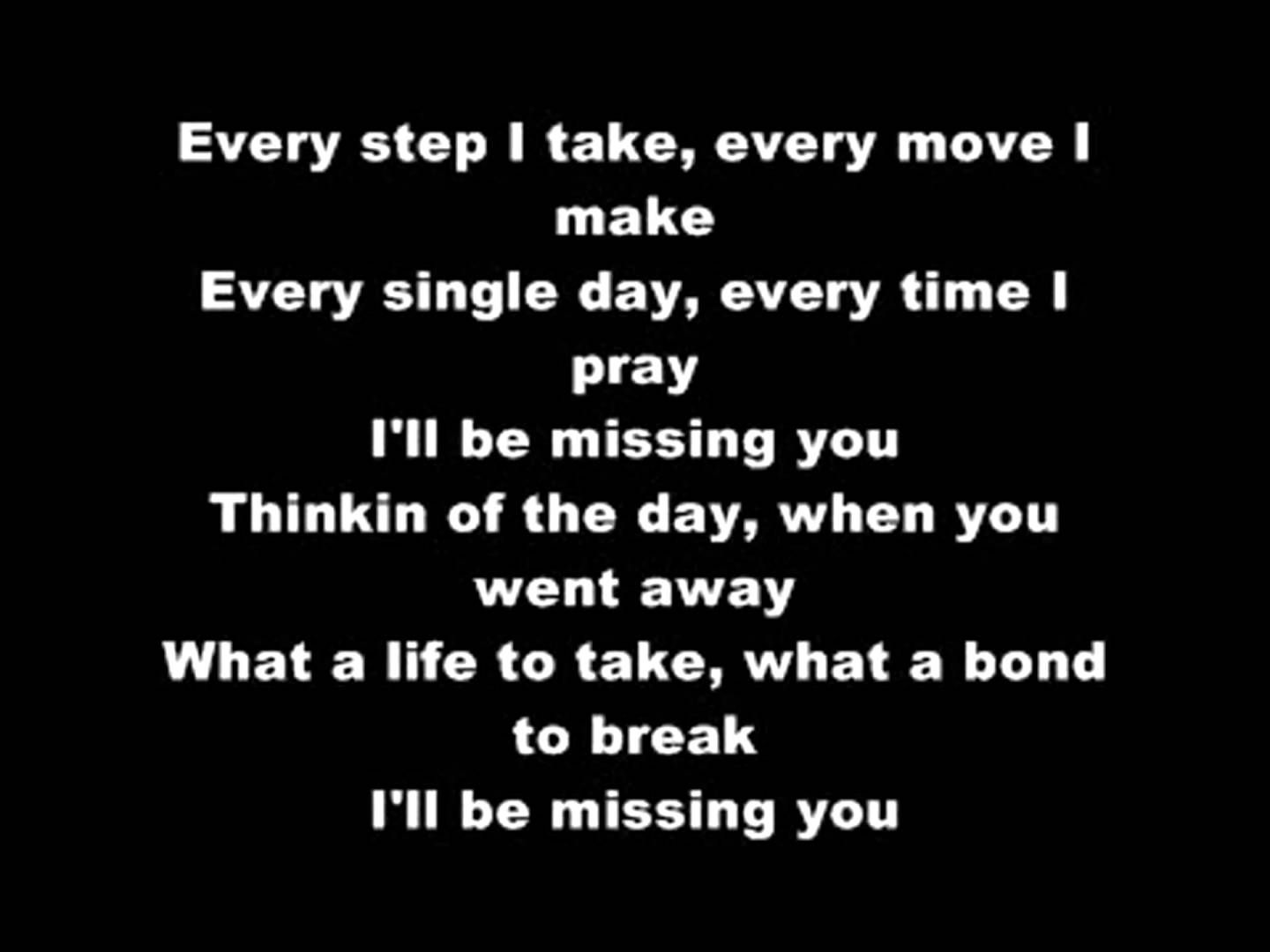 Puff Daddy - I'll Be Missing You (LYRICS)   funeral songs