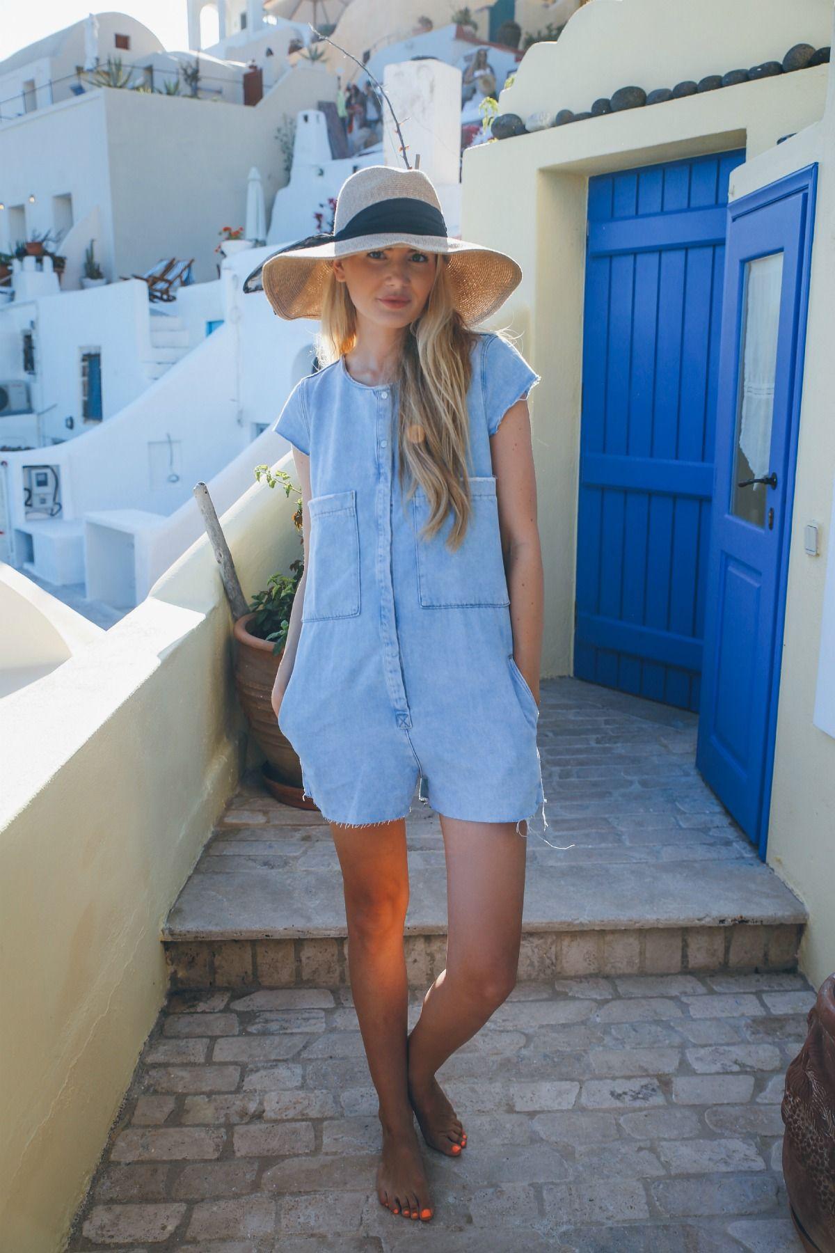 70eb113f62f DENIM ROMPER  Zara (similar here)    HAT  Eugina Kim    LIPSTICK  MAC  Call  The Hairdresser  How cute is the place we are staying in Santorini