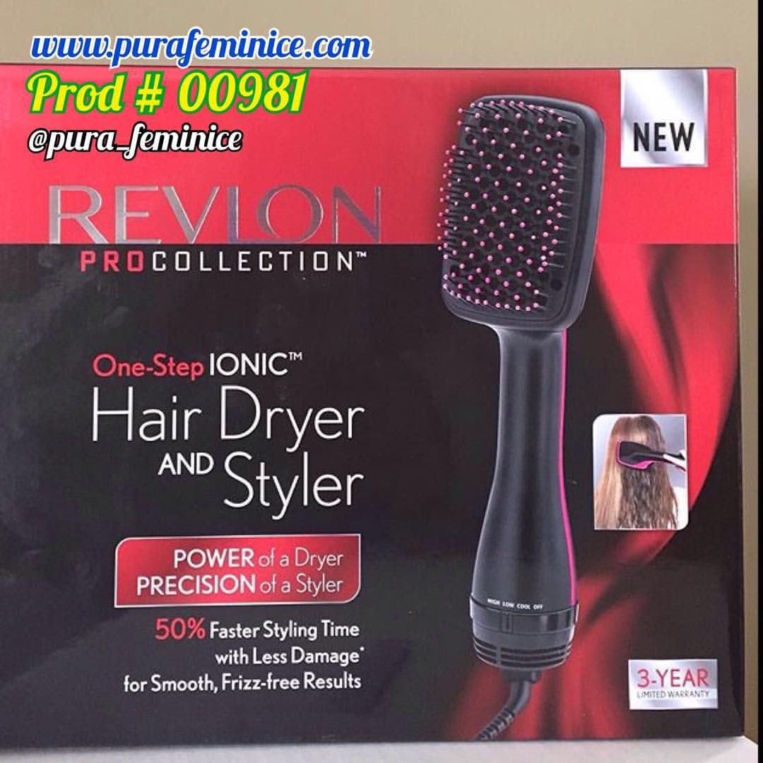 Para Compras www.purafeminice.com . Revlon One Step Hair Dryer ➡️secador de cabelos em formato de escova ➡️seca e faz escovinha . US$79 . 1.000watts . Esse secador de cabelos combina secagem e escovinha em um passo. Cerdas flexíveis e condicionamento iônico para menos frizz e mais brilho. Leve e fácil de usar. 3 configurações de temperatura, 2 de calor e 1 opcao de jogada de ar frio para definir o estilo.
