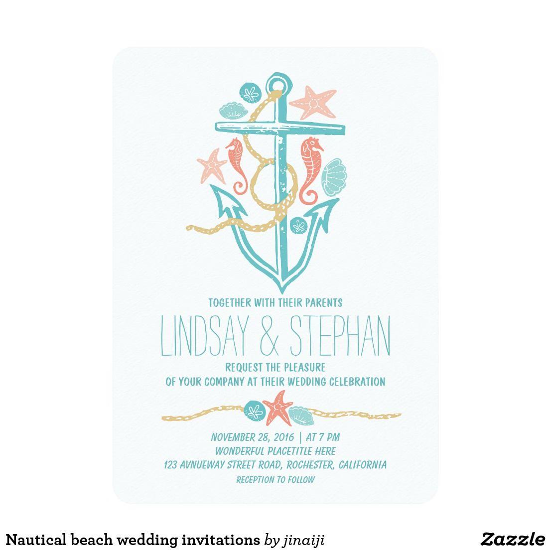 Nautical beach wedding invitations | Beach Wedding Invitations ...