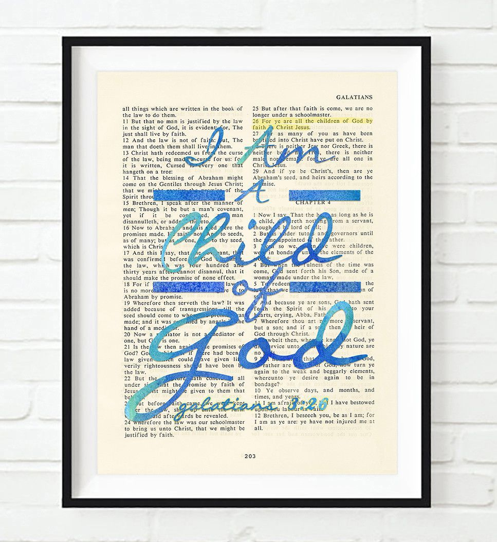i am a child of god galatians 3 26 bible page christian art print