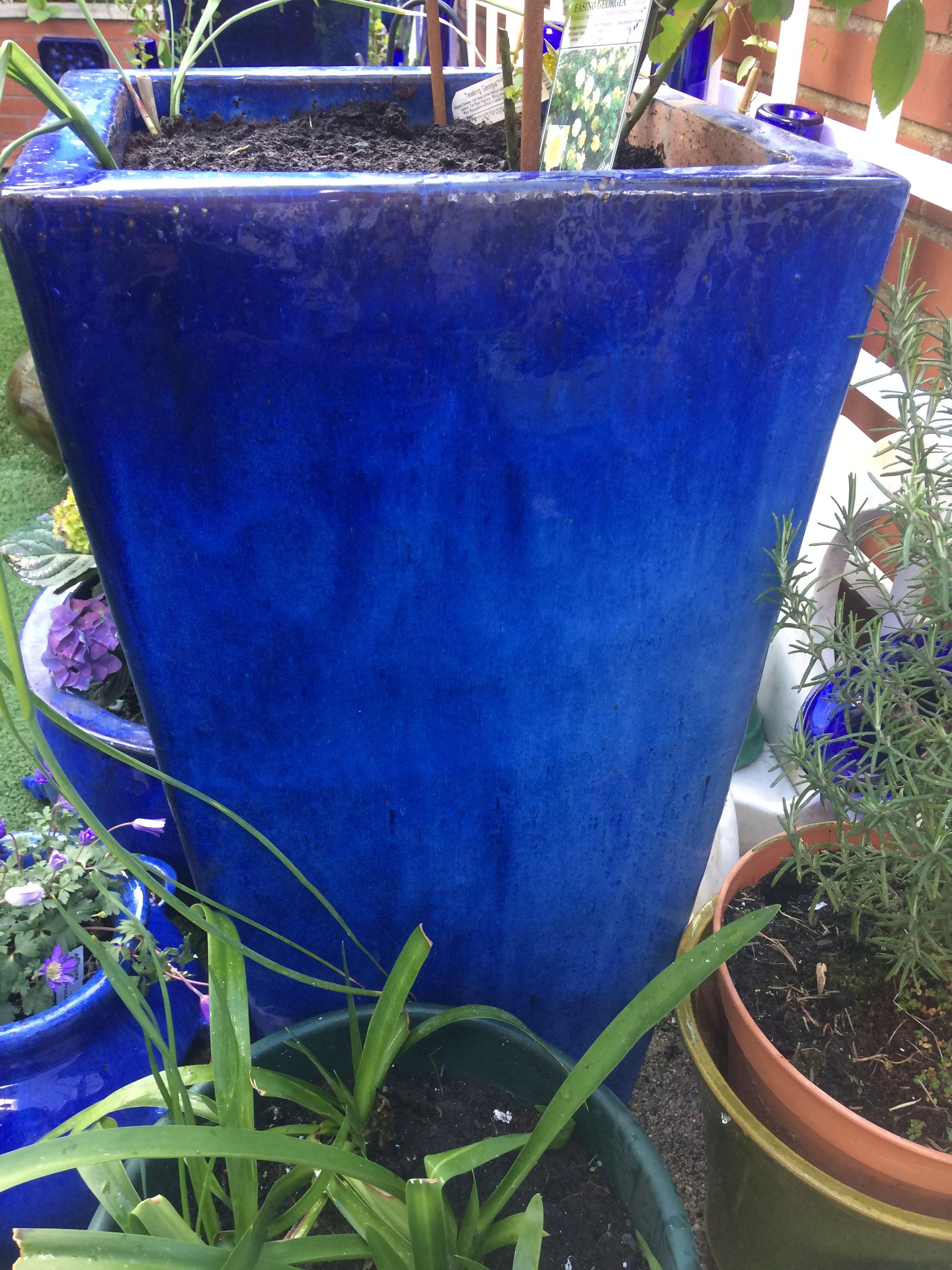 Blue Tall Planter Huge Garden Pot