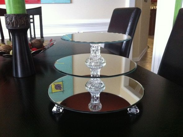 Diy Cupcake Stands Made From Mirrors And Candle Holders