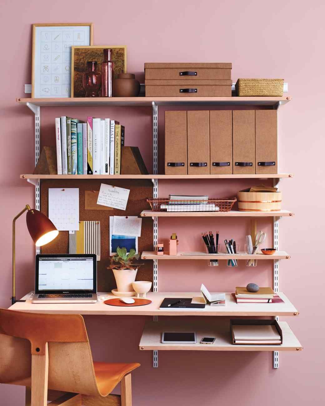 DIY Leather Shelf Edging for a Chic Home Office Shelves
