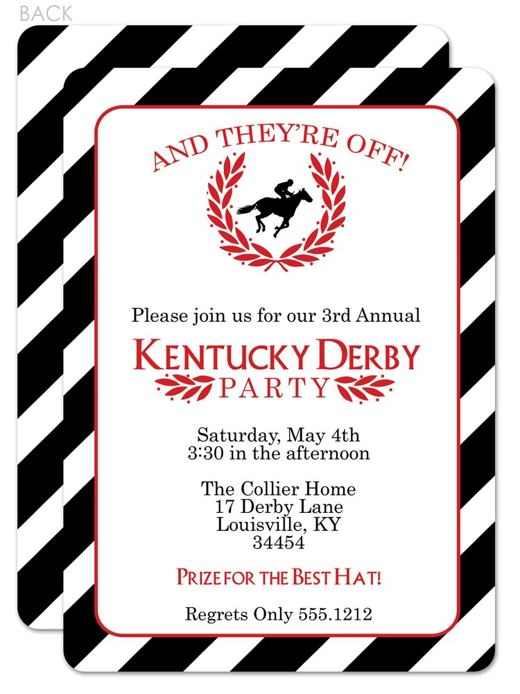Classic and beautiful Kentucky Derby Party Invitation I love the