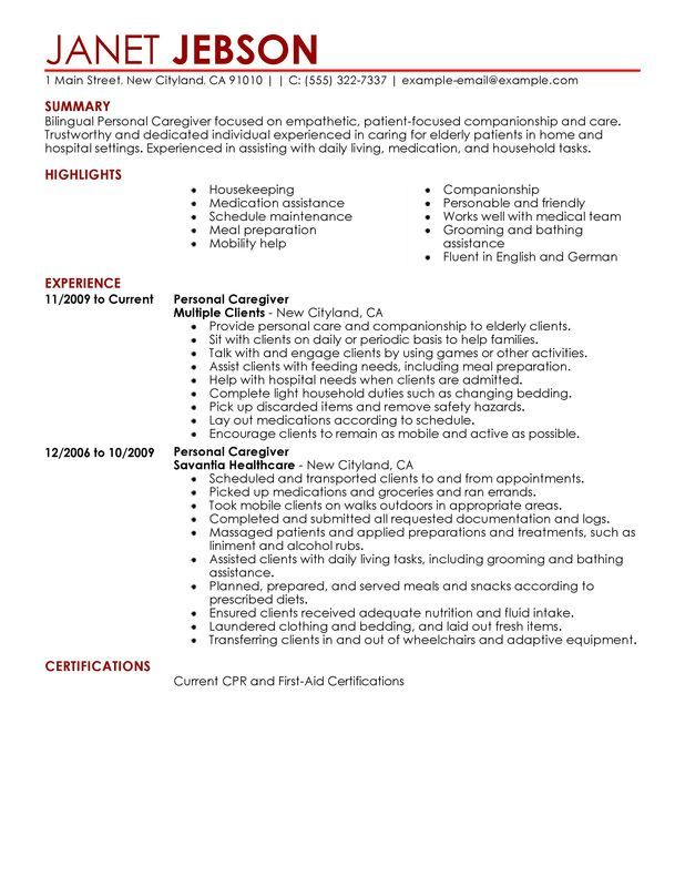 Personal Care Resume Sample Employment Pinterest Personal care