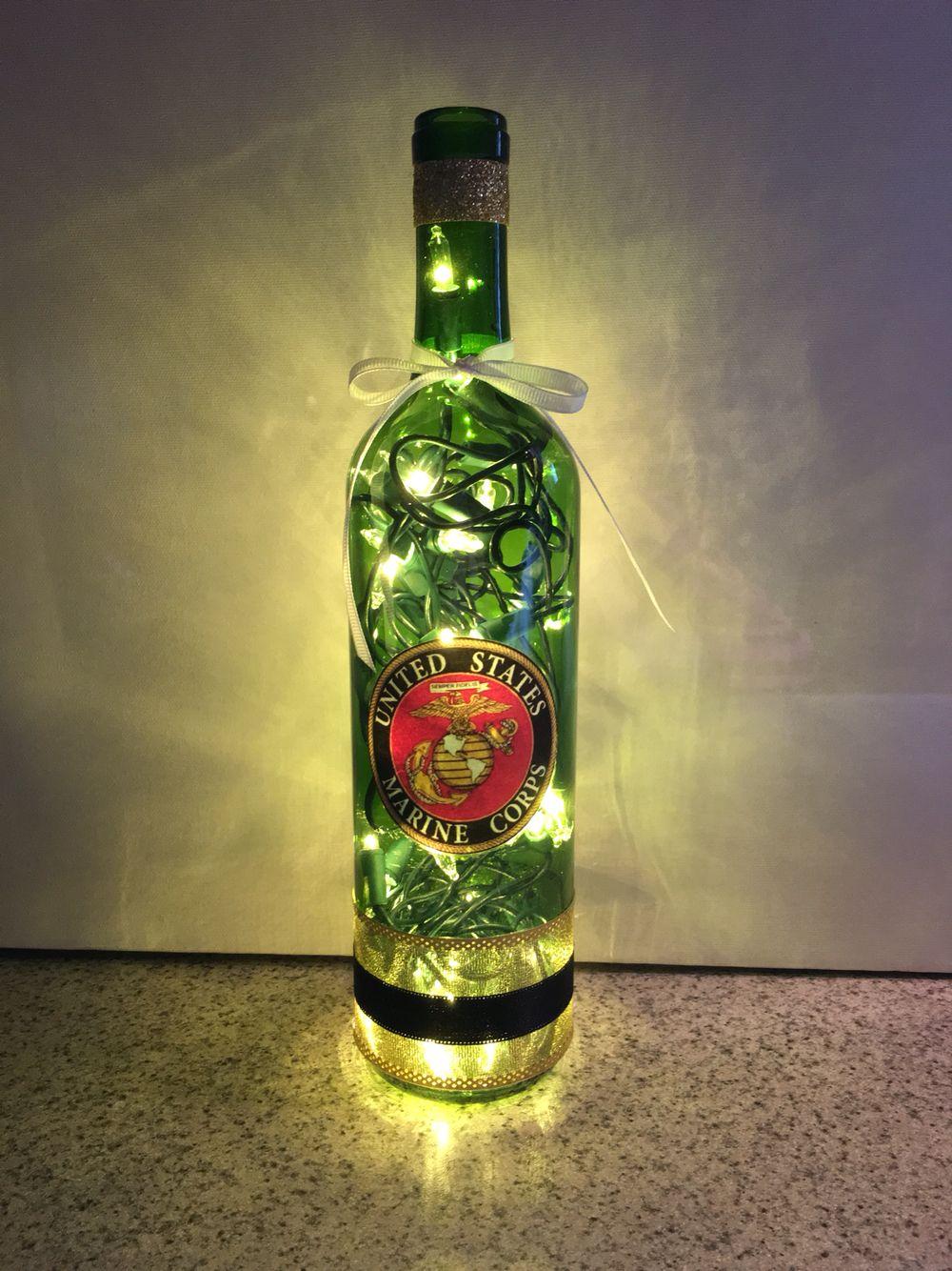 United States Marines wine bottle lamp, USMC bottle lamp, gift for ...