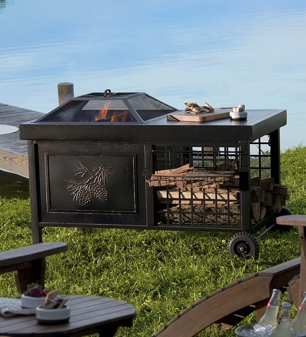 Deluxe Rolling Wood Burning Fire Pit With Pine Cone Motif With