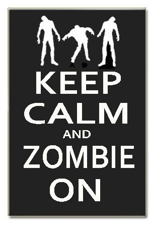 "Keep Calm and Zombie On Wood Sign Handpainted 16"" X 10.5"" X .5"" Wall:  #zomiesigns #zombieposters #zombiedecals #warning #killzombies #zombiezpocalypse #zombiedecor #zombie_sayings #zombie_stickers #zombie_fun #thewalkingdead #theundead #thelivingdead #gag_gifts #zombie_gifts #tinsigns #woodsigns #printed_posters #zombiefamily http://www.zombieinfestedworld.com/Zombie-Signs-Posters-and-Decals.html"