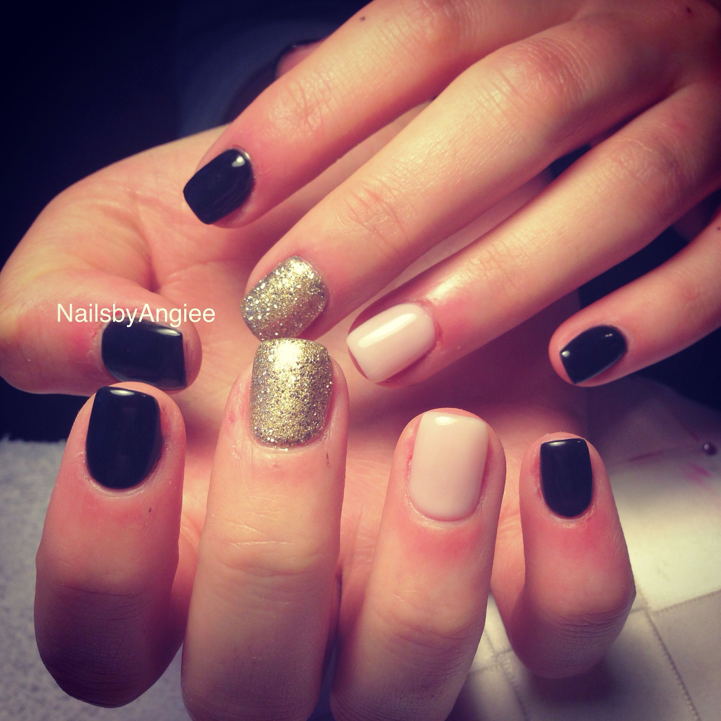 Full set acrylic with gold , black & skin color gel design /simple ...