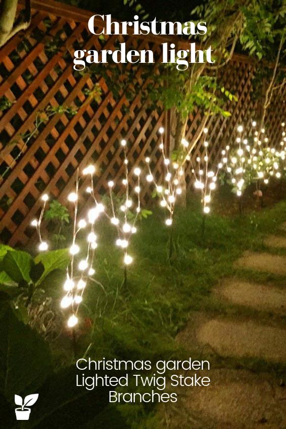 christmas garden lighted twig stake
