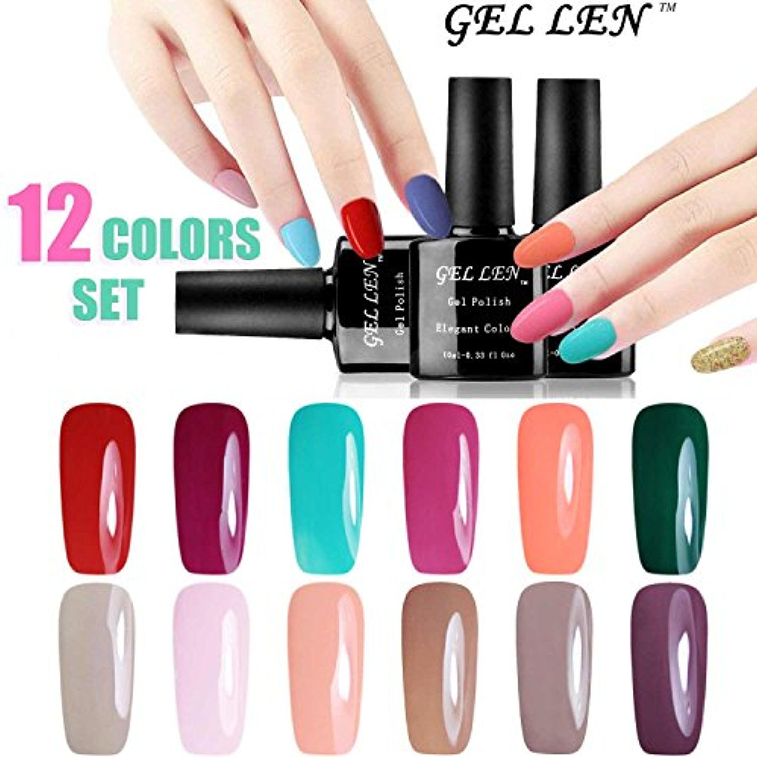 Gellen UV Gel Nail Polish 12 Colors Kit, Nail Art Home Salon Gift ...