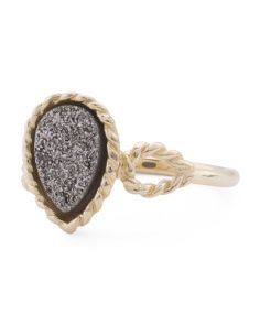 Made In Italy 14k Yellow Gold Teardrop Platinum Drusy Ring
