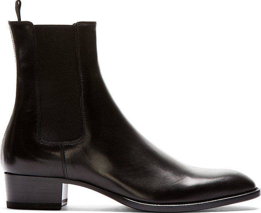 Saint Laurent Black Leather Wyatt Chelsea Boots