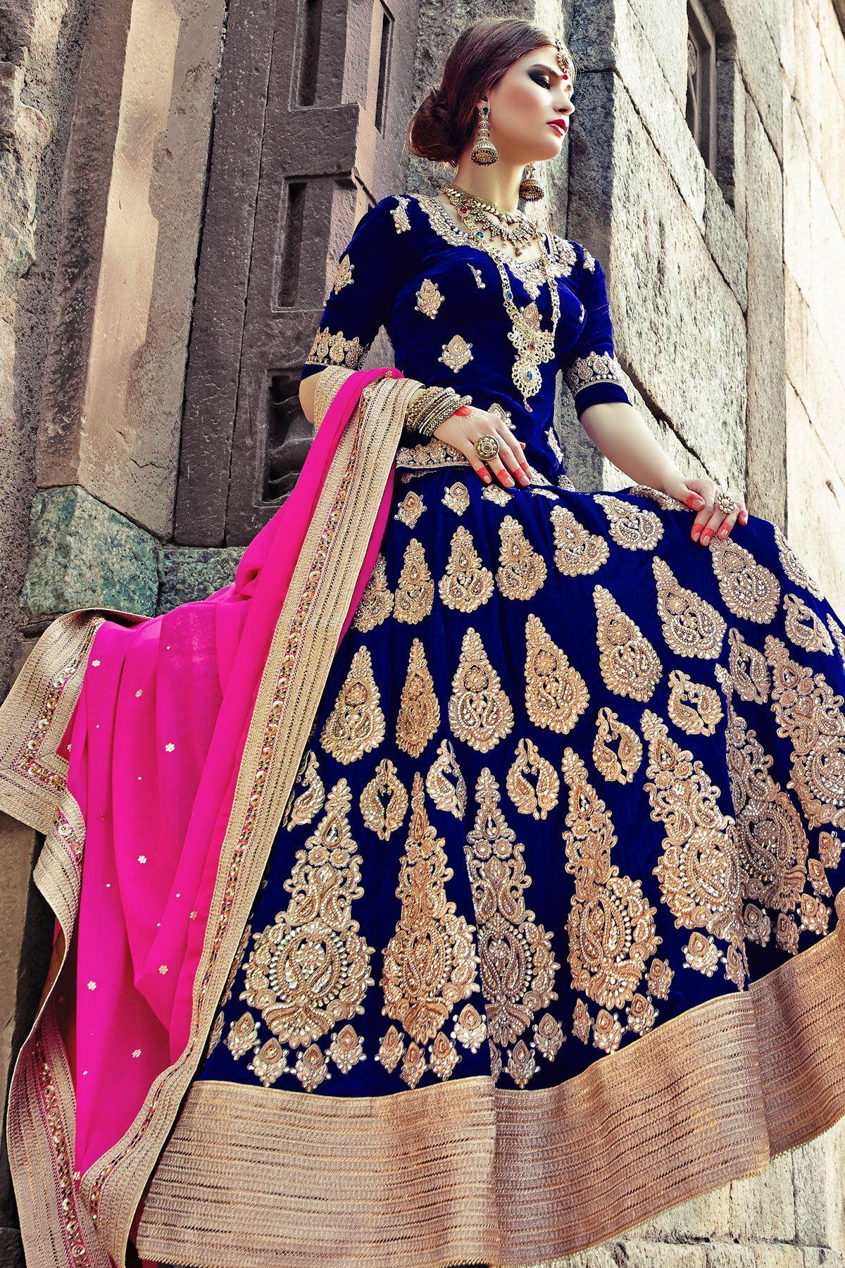 royal blue velvet flared lehenga with royal blue choli