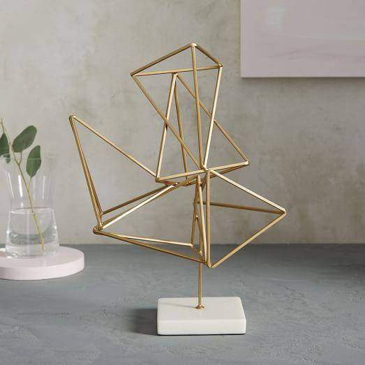geo sculptural metal prism object west elm