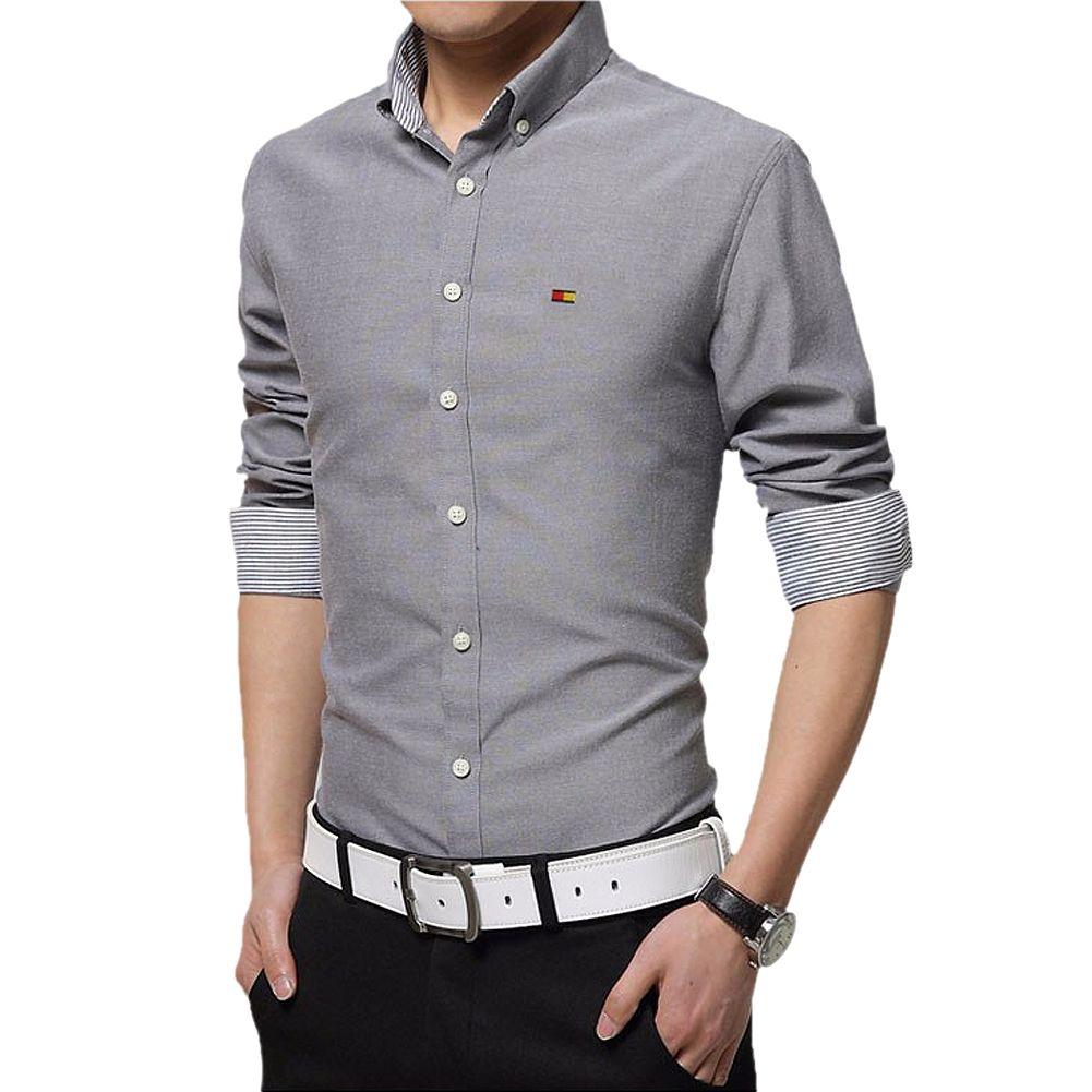Mens dress shirts slim fit fashion long sleeve shirt high quality