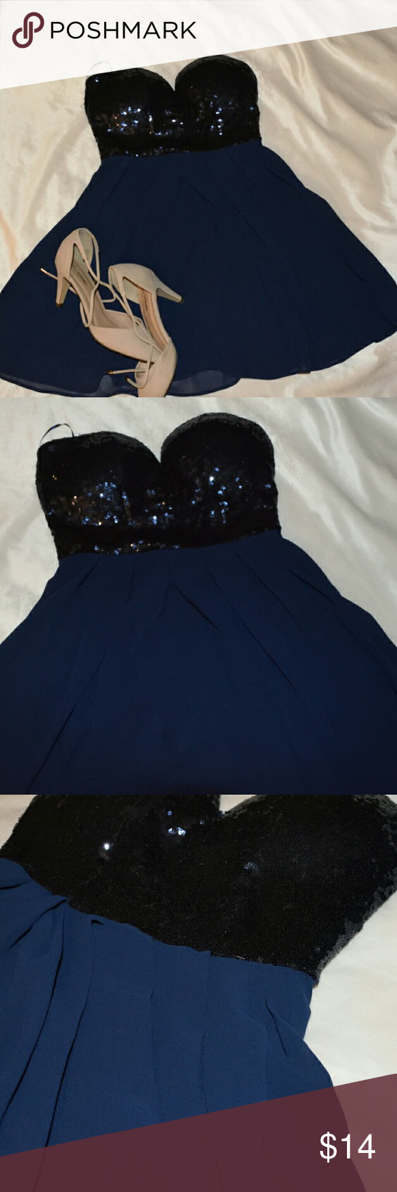 Navy Blue Dress This Is A Short Navy Blue Dress 100 Polyester Strapless The Top Of The Dress Is Mad Navy Blue Short Dress Navy Blue Dresses Windsor Dresses [ 1740 x 580 Pixel ]