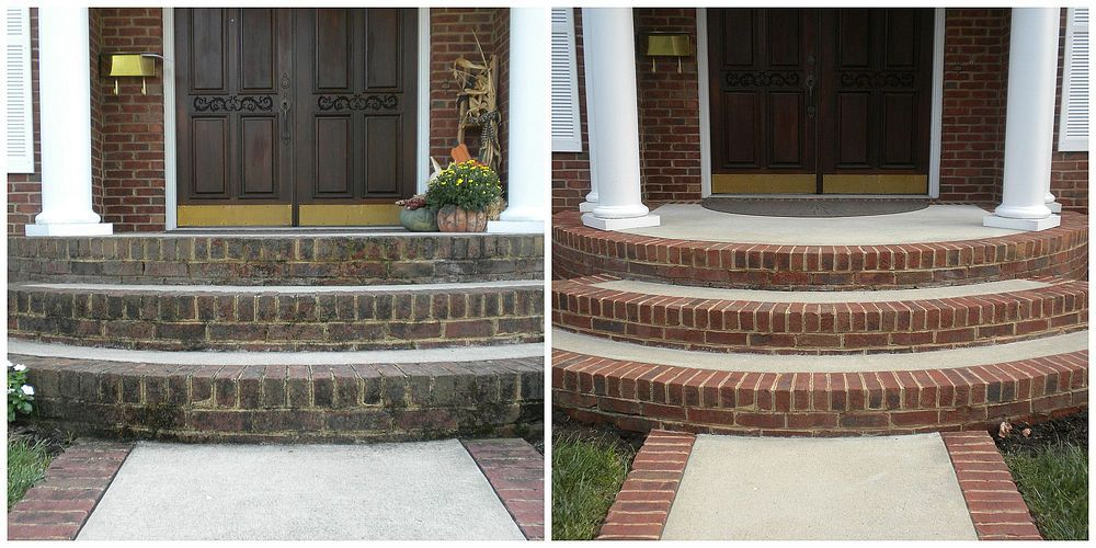 Before And After Power Washing Brick Concrete Stain Patio Brick